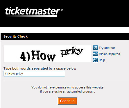 Ticketmaster captcha tells the truth!